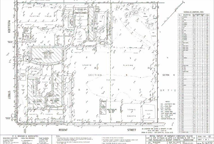 Detail Survey plan for site master planning of a school Rivertsone, NSW